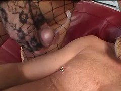 Dude gets cumshot from asian tranny